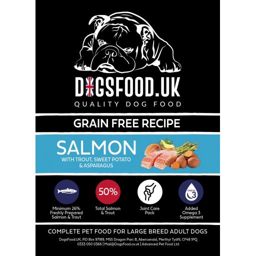 Grain Free Dog Large Breed Salmon with Trout, Sweet Potato & Asparagus Recipe