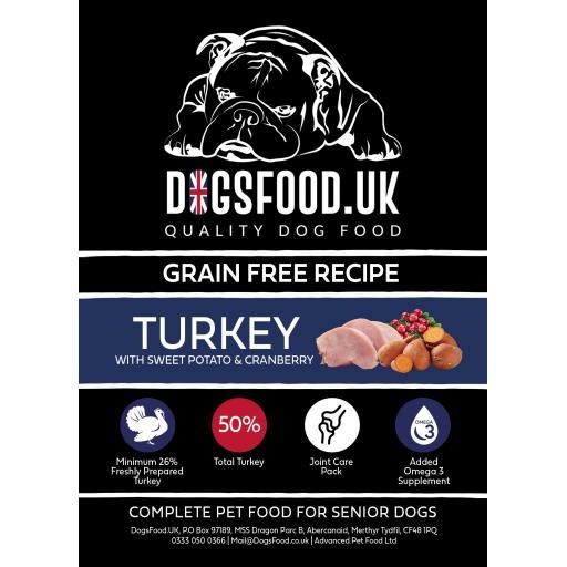 Grain Free Dog Food Senior Turkey with Sweet Potato & Cranberry Recipe