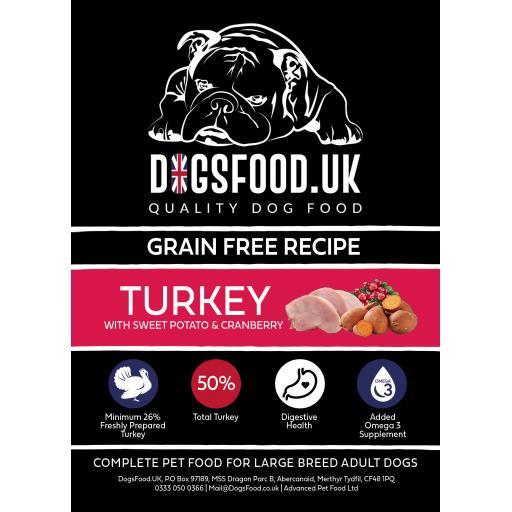 Grain Free Dog Large Breed Turkey with Sweet Potato & Cranberry Recipe