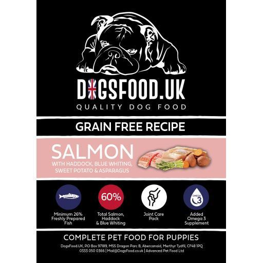 Grain Free Puppy Salmon with Haddock, Blue Whiting, Sweet Potato & Asparagus Recipe