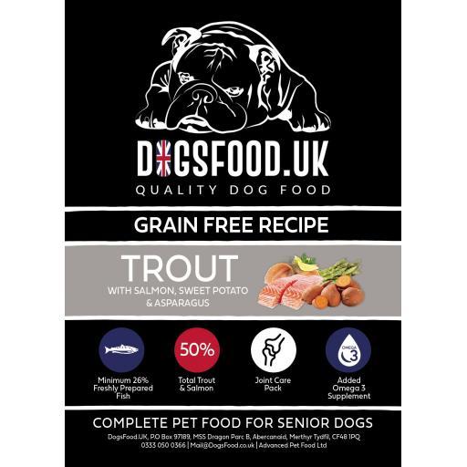 Grain Free Dog Food Senior Trout with Salmon, Sweet Potato & Asparagus Recipe