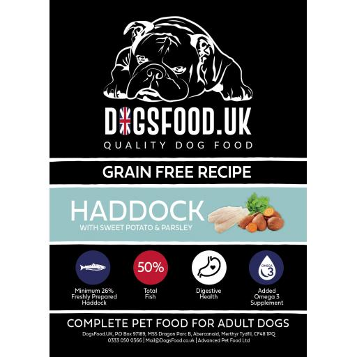 Grain Free Dog Food Haddock with Sweet Potato & Parsley Recipe