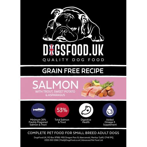 Grain Free Small Breed Adult Salmon with Trout, Sweet Potato & Asparagus Recipe