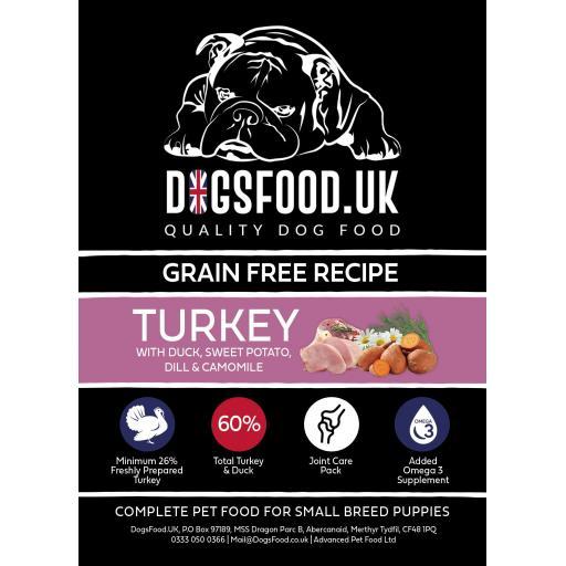 Grain Free Small Breed Puppies Turkey with Duck, Sweet Potato, Dill & Camomile Recipe